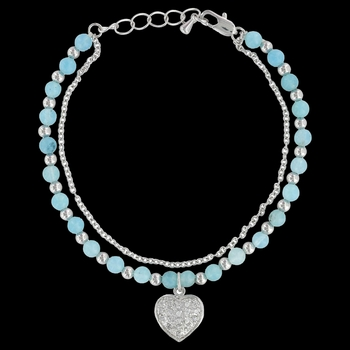 Love the Earth and Sky Heart Charm Bracelet (BC3048)