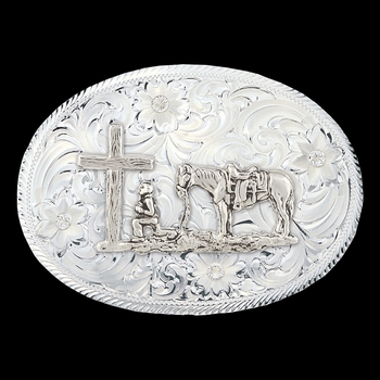 Montana Classic Belt Buckle with Etched Trim and Christian Cowboy (1845-731)