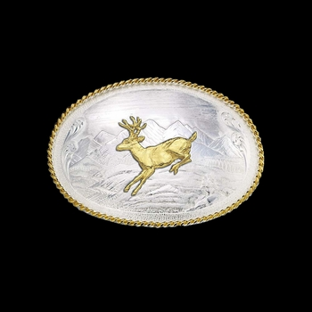 Mountain Scene Western Belt Buckle with Running Deer (9820-210)
