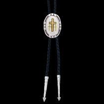 New Traditions Four Directions Bolo Tie with Triple Cross Figure (BT26-855)