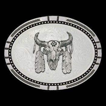 New Traditions Four Directions Buckle with Ceremonial Buffalo Skull (6120-447)