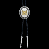 New Traditions Stars and Barbed Wire Bailiwick Bolo Tie with Ceremonial Skull  (BT25D-447S)