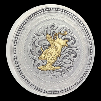 New Traditions Stars and Barbed Wire Snuff Lid With Bull Rider Figure (LID8-646)