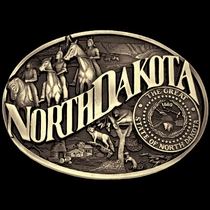 North Dakota State Heritage Attitude Buckle (60811NDC)