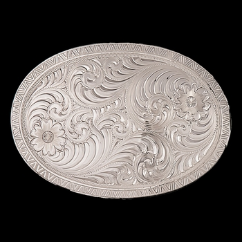 Oval Engraved Western Belt Buckle with Geometric Trim (1850)