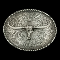 Oval Longhorn Classic Antiqued Attitude Belt Buckle (61028)