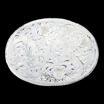 Oval Silver Engraved Western Belt Buckle with Etched Trim (1840)