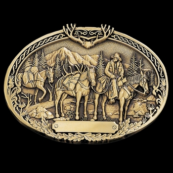 Pack Horses and Rider Brass Heritage Attitude Belt Buckle (60789C)