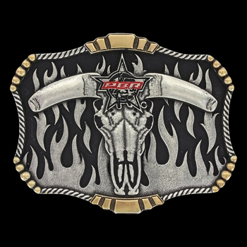PBR 2017 Flaming Skull Attitude Buckle