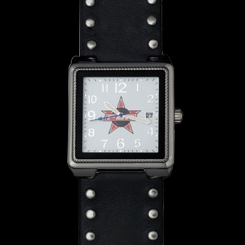 PBR Square Face and Studded Leather Watch