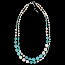 Pearled Sky Double Strand Necklace Attitude Jewelry (ANC3468)