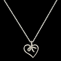 Petite Heart Tied in a Bow Necklace (NC2516)