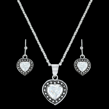 Pin Point Framed Heart Jewelry Set (JS3230)