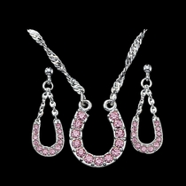 Pink Ice Lucky Horseshoe Jewelry Set (JS801PK)