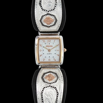 Portrait of a Prairie Daisy Leather Watch (WCH3097RGBK)