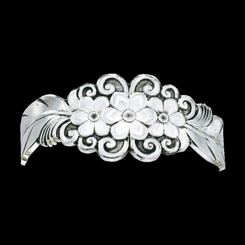 Pure Montana Antiqued Silver Flower and Feather Spray Cuff Bracelet (EVBC1016RTS)