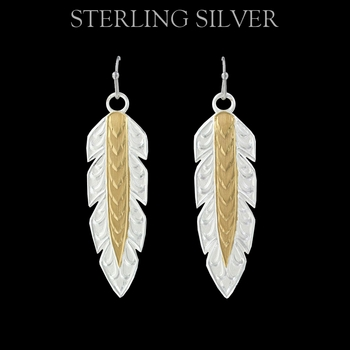 Pure Montana Golden Hawk Feather Dangle Earrings