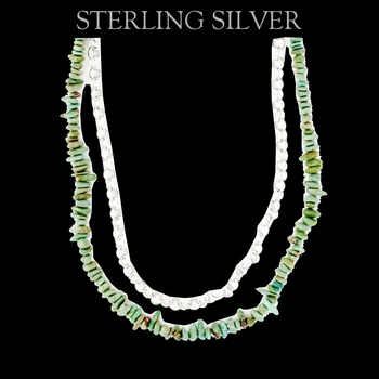 Pure Montana Silver and Turquoise Double Chain (EVCH006-18)