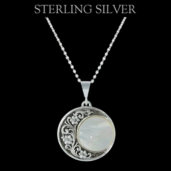 Pure Montana Silver Blooms Under a Rising Moon Necklace