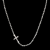 Quiet Faith Tiny Crystal Cross Choker Necklace (NC1510)