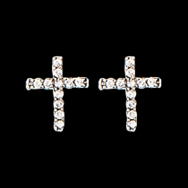 Quiet Faith Tiny Crystal Cross Earrings (ER1510)