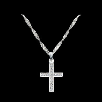 Rhinestone Cross Necklace (NC746)