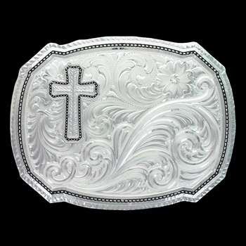 Right Cut of the Rope Buckle with Silver Wheat Cross (30510-929M)