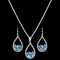 River of Lights Tumbled Stones Teardrop Jewelry Set (JS3392)