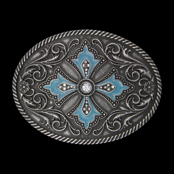 Rock 47®  Pins and Needles Turquoise Paint Scalloped Cross Buckle (A366)