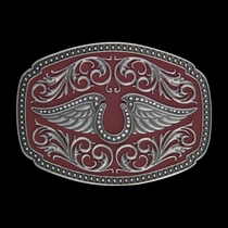 Rock 47®  Tattoo Art Horseshoe on Wings Red Paint Buckle (A356)