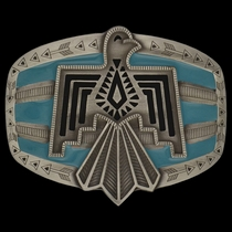 Rock 47®  Tribal Flair Blue Phoenix Attitude Buckle (A443P)