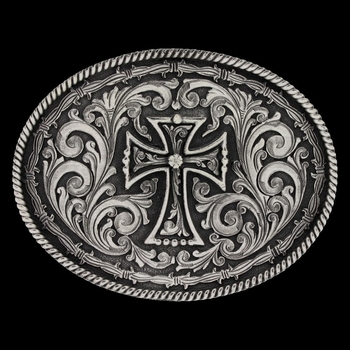 Rope and Barbed Wire Deco Cross Attitude Buckle (A549S)