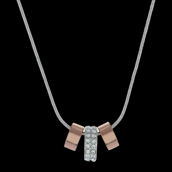 Rose Gold and Double Shine Three Ring Necklace (NC2749)