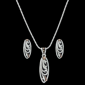 Rose Gold Leather Cut Trailing Vines Jewelry Set (JS2837RGBK)