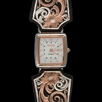 Rose Gold Vintage West Ladies Black Leather Band Watch (WCH114RG)