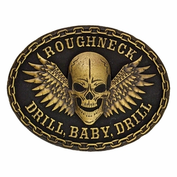 Roughneck Drill Baby Drill Gold-tone Attitude Buckle (A423C)