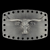 Satin Longhorn Attitude Belt Buckle (A218)