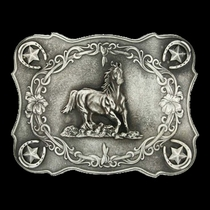 Scalloped Running Horse Classic Antiqued Attitude Belt Buckle (61000) 73081707dc