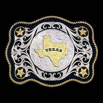 Scalloped Sheridan Style Western Belt Buckle Texas State (61360-610TX)