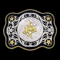 Scalloped Sheridan Style Western Belt Buckle with Bronc Rider (61360-422)