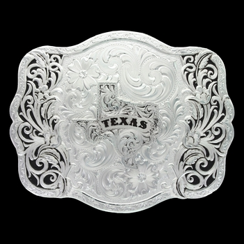 Scalloped Trellis Buckle with Texas State (30610-610TX)