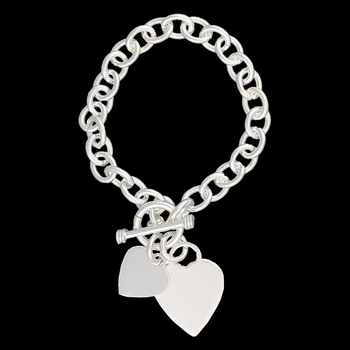 Silhouette Hearts Toggle Charm Bracelet  (BC2555)
