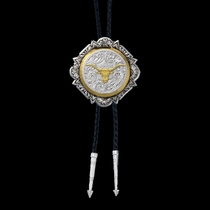 Silver and Gold Engraved Button Bolo Tie (BT366-384S)