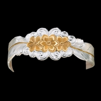 Silver and Gold Flower and Feather Spray Cuff Bracelet (BC1016)