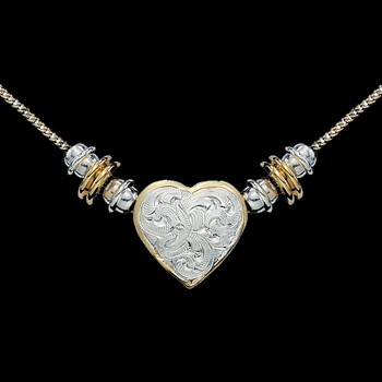 Silver and Gold Montana Heart Beaded Necklace  (NC39)