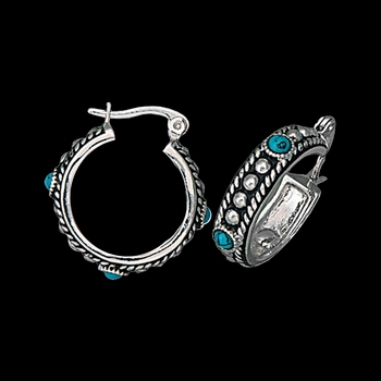 Silver and Turquoise Studded Hoop Earrings (ER1460)