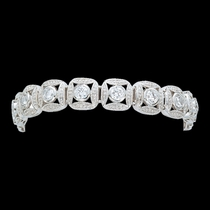 Silver Bead and Crystal Square Link Bracelet (BC61503CZ)