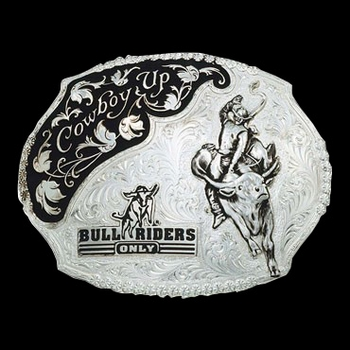 Silver Cowboy Up Bull Riders Only Western Belt Buckle (61357)