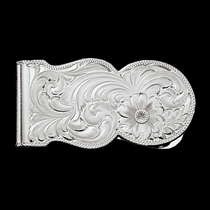 Silver Engraved Scalloped Money Clip (MCL11)