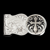 Silver Engraved Scalloped Shape Money Clip with Silver Cross (MCL7-C433U)